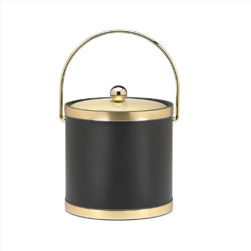 Black 3 Qt Ice Bucket (Kraftware Sophisticates Black with Brushed Gold 3-Quart Ice Bucket with Metal Cover, Bands and Bale Handle)