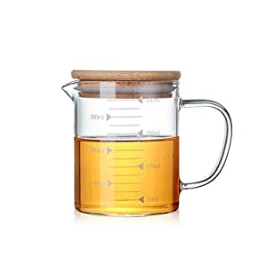 ACOOME Glass Beaker Set with Handle and Lid, Glass Measuring Cup with Handgrip, Glass Measure Cup for Easy Visibility, Baking, Cooking, Pouring Liquid 12 Oz (350 ML) /17 oz ( 500ml) /34 oz (1000ml) (12 OZ)