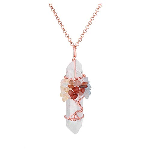 Top Plaza Chakra Stone Tree of Life Wire Wrapped Natural Clear Quartz Healing Crystal Point Gemstone Pendant Necklace(Yellow Crystals+Aquamarine+Red Agate) ()