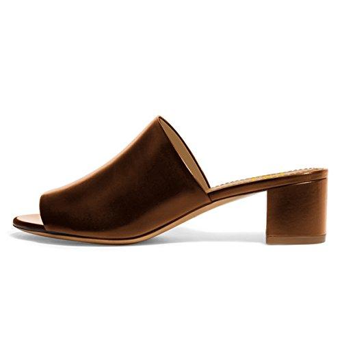 Fsj Femmes Décontracté Ouvert Orteils Mules Chunky Talons Bas Sandales Confortable Quotidienne Chaussures Taille 4-15 Nous Bronze