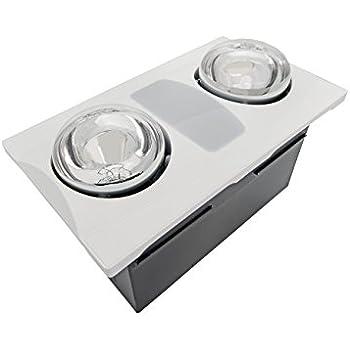 Aero Pure A515A W 2-Bulb Quiet Bathroom Heater Fan with Light, 80-CFM, White