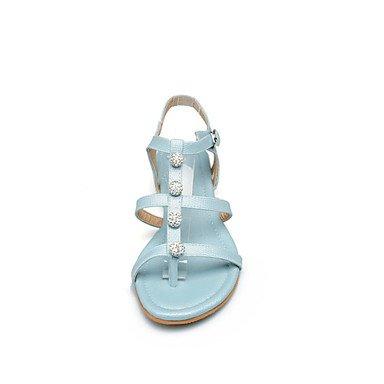LvYuan Tacón Plano-Innovador Confort-Sandalias-Informal Fiesta y Noche Vestido-Semicuero Materiales Personalizados-Azul Rosa Blanco Pink