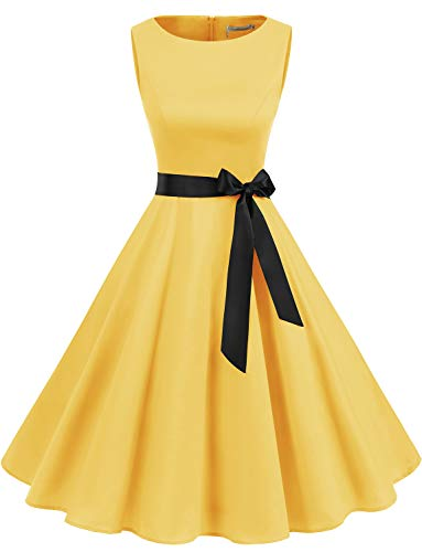 Gardenwed Women's Audrey Hepburn Rockabilly Vintage Dress 1950s Retro Cocktail Swing Party Dress Yellow M