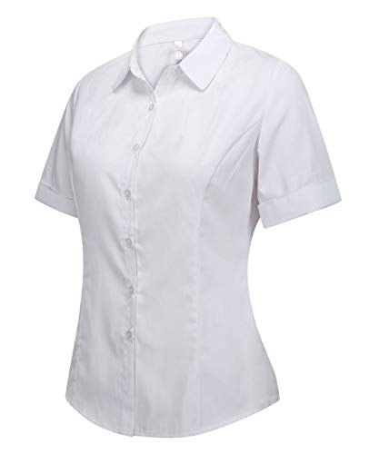(Double Plus Open Women's Cotton Collared Basic Button Down Dress Shirt Short Sleeve Tailored Blouse White L)