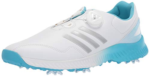 adidas Womens Response Bounce BOA Golf Shoe FTWR White/Silver Metallic/Bright Cyan 8 M US