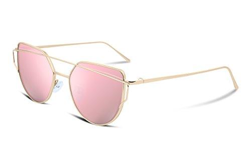 FEISEDY Women Cat Eye Sunglasses Metal Frame Polarized UV400 Protection B1397