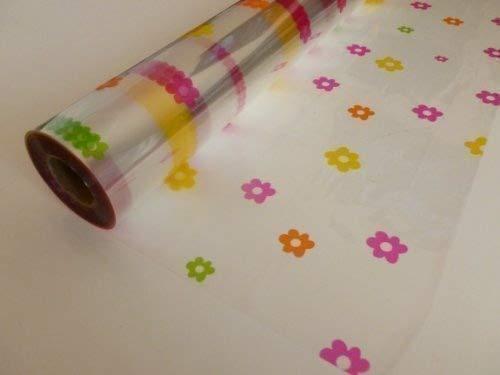 20m x 80cm Roll Multi Coloured Daisy Cellophane Wrap. Florist Quality Bouquet / Gift / ...