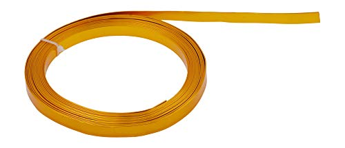 Mandala Crafts Flat Aluminum Wire for Bezel, Sculpting, Armature, Jewelry Making, Gem Metal Wrap, Gardening; Anodized Colored and Soft (Gold Tone, 10mm Wide 16.5 Feet Long 18 Gauge)