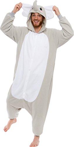 Silver Lilly Adult Pajamas - Plush One Piece Cosplay Elephant Animal Costume -