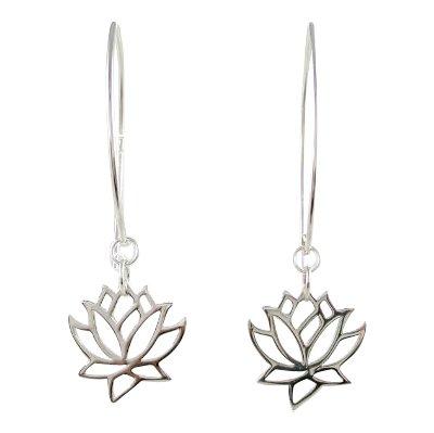Cut Out Design Lotus Flower Dangle Earrings in Sterling Silver, #8373