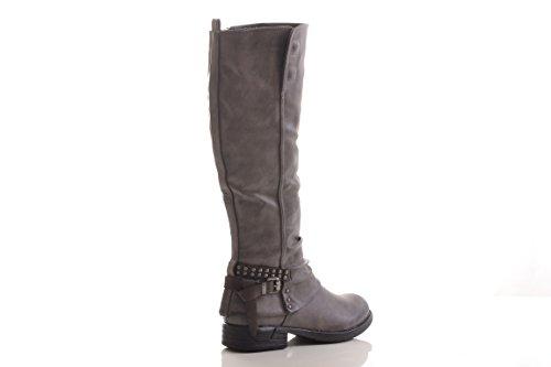Winterstiefel Damen Stiefel Stiefelette warm gefüttert hochwertige Lederoptik Boots Biker Reiterstiefel 278PG Grey