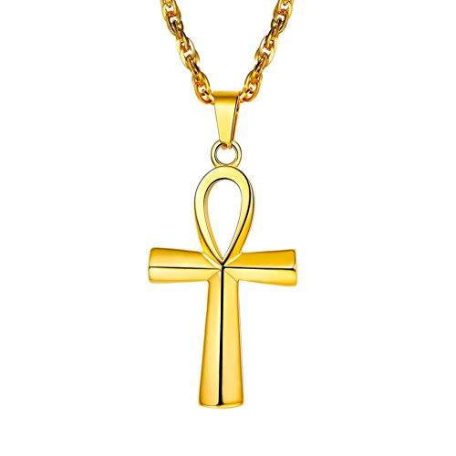 (PROSTEEL Gold Ankh Necklace 18K Plated African Egyptian Men Women Jewelry Mythology Vintage Key to Life Egypt Hiphop Hip Hop Cross Pendant)