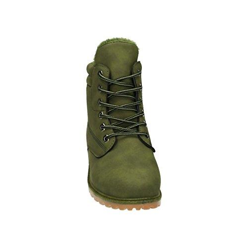 King Of Shoes Trendige Damen Stiefeletten Worker Schnürboots Outdoor Wander Stiefel Schuhe Bequem 46 Grün