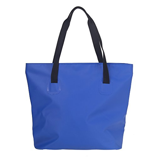 ESONE Waterproof Tote Bag with Zipper and Pockets Waterproof Beach Bag Market Totes (Blue) ()