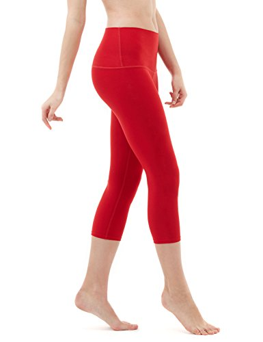 TSLA Yoga Pants 21 inches Capri High-Waist Tummy Control w Pocket, Yogabasic Thick Contour(fyc32) - Red, Medium (Size 8-10_Hip39-41 Inch)