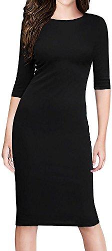 LunaJany Women's 3/4 Sleeve Sheath Stretch Wear to Work Jersey Pencil Dress