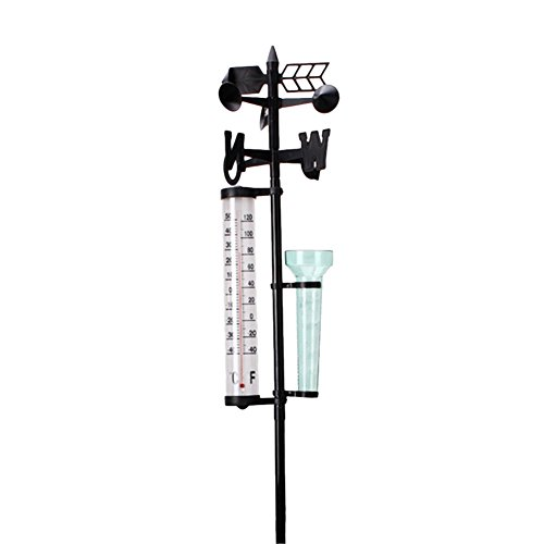 SHZONS Weather Station, 3 in 1 Rain Gauge,Thermometers,Wind Indicator Garden Outdoor Weather Station Meteorological Measurer Vane Tool
