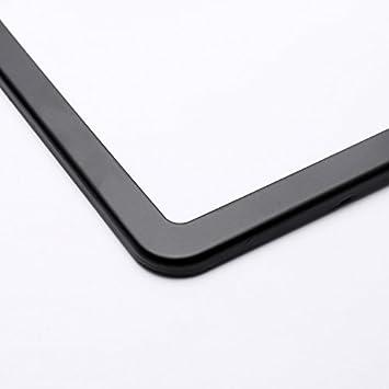 Ohuhu 2 PCS Slim Bottom License Plate Frames Matte Black Powder Coated Wont Block Letters//Stickers