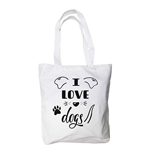 I Love Dogs Canvas Cute Tote Bag 12 Oz 100% Cotton (15