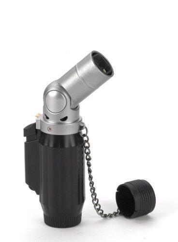 - Vertigo Intimidator Quad Torch Lighter - Black Matte & Brushed Chrome