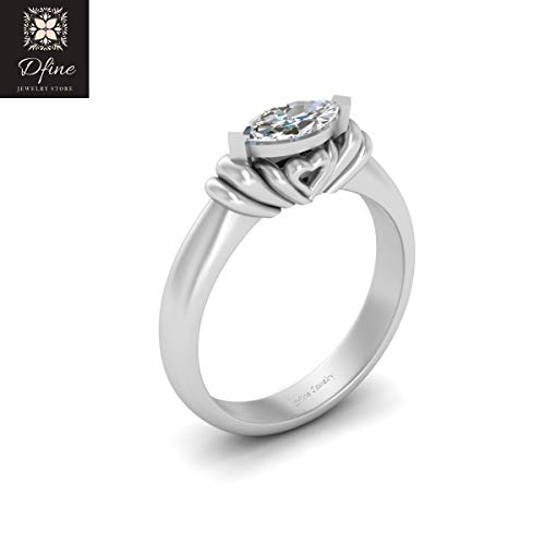 Heart Base Solitaire Marquise Cut Diamond Engagement Ring Promise Ring For Her Sterling Silver