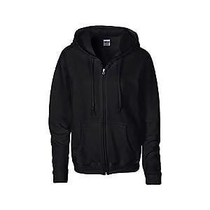 Gildan Heavy Blend Ladies Full Zip Hood Sweat / Sweatshirt Hoodie (M) (Black)