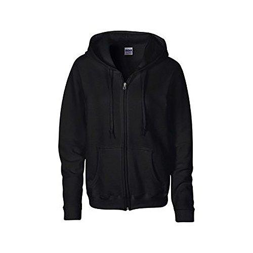 Ladies Zip Sweatshirt - Gildan Heavy Blend Ladies Full Zip Hood Sweat/Sweatshirt Hoodie (L) (Black)