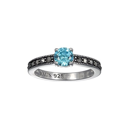 Aura by TJM 925 SS 0.81 cttw Blue CZ Prong Set accented with 0.49 cttw Marcasite Ring