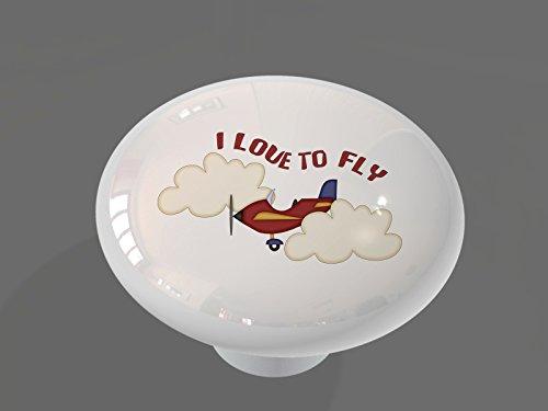 I Love to Fly High Gloss Ceramic Drawer Knob (Plane Knob Drawer)