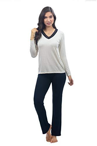 Pijama feminino manga longa decote