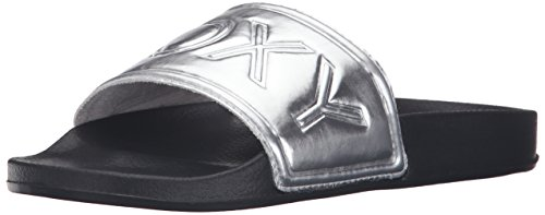 Roxy Women's Slippy Slip-on Sandals Slide, Black/White, 8 M US