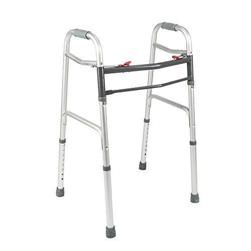 Mefeir Easy Folding Standard Walker w/Push Button-Safety Mobility Aid for Adult, Senior, Elderly&Handicap, Lightweight, Portable, Adjustable Height, Ultra Convenient, Silver&Gray by Mefeir
