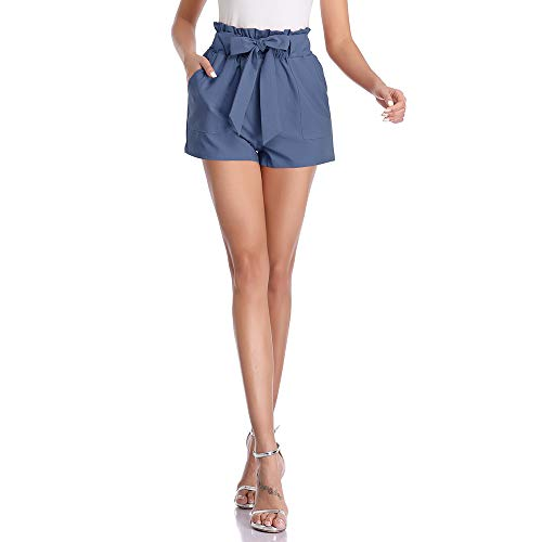 Freeprance Paper Bag Shorts for Women high Waisted Casual Shorts Elastic Waist Front Pockets DK_BLG_XL