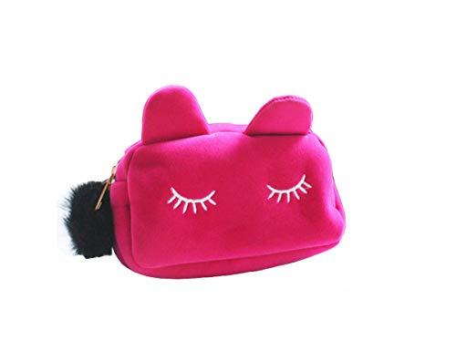 ELECTOMANIA Velvet Cosmetic Pouch (Pink_CATSTORGMAKEUPBAG)