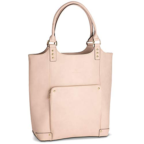 Designer Laptop Bag for Women 15 - Ladies Bucket Style Shoulder Bags with Multiple Pockets, Blush Pink, PU Leather, Long Straps - Beautiful, Multifunctional Laptop Purse for Work, Travel