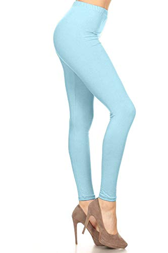 LDR128-SkyBlue Basic Solid Leggings, One Size ()