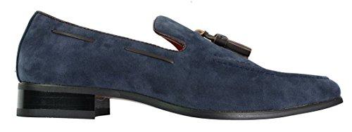 Blau Fahrschuhe lässig Design On Suede Leder Smart Herren Slip wTEqx850Un