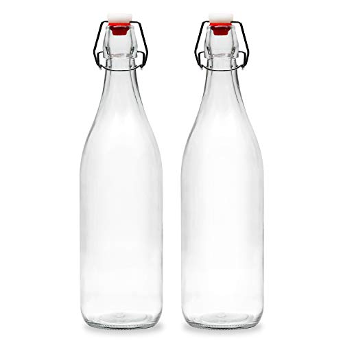 Americanflat 30oz (900ml) Glass Bottle - 2 Pack - Home Brewing Bottles with Easy to Open & Close Seals - Swing Top Bottles with Airtight Lids for Oil, Vinegar, Beverages, Liquor, Beer, Water, Kombucha ()