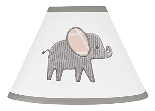 Sweet Jojo Designs Blush Pink, Grey and White Lamp Shade for Watercolor Elephant Safari ()