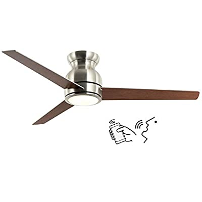 52 Inch Smart Ceiling Fan Work with Alexa and Google Assistant for Kitchen and Bedroom, Flush Mount Indoor Ceiling Fan…