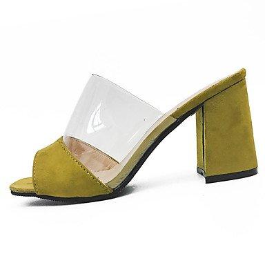 9'5 Negro Tacón Verano Sandalias 7'5 LvYuan Yellow Amarillo Robusto PU Mujer cms Primavera xAwqBTB0fv