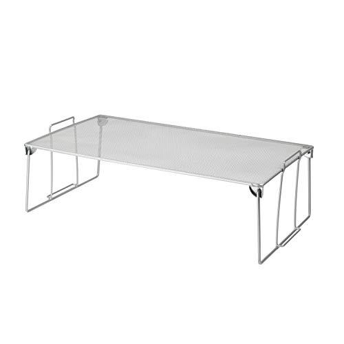 - YBM HOM Stackable Mesh Shelf (Silver) - Multipurpose Storage Rack for Kitchen/Bathroom/Garage/Office - Durable, Wire Pantry Organizer - Foldable Space Saving Design 2256 (1, Medium)