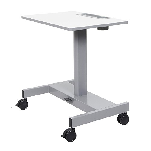 Luxor Pneumatic Adjustable Height Sit Stand Desk - Light Gray