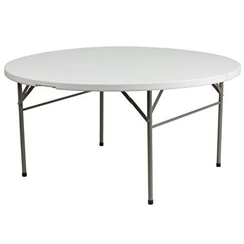 Flash Furniture 60'' Round Bi-Fold Granite White Plastic Folding Table [DAD-154Z-GG] Dia Round Banquet Table