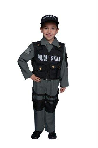 Disfraz De Policia Para Halloween (Dress Up America - Disfraz de policía SWAT deluxe para niños, talla M, 8-10 años)