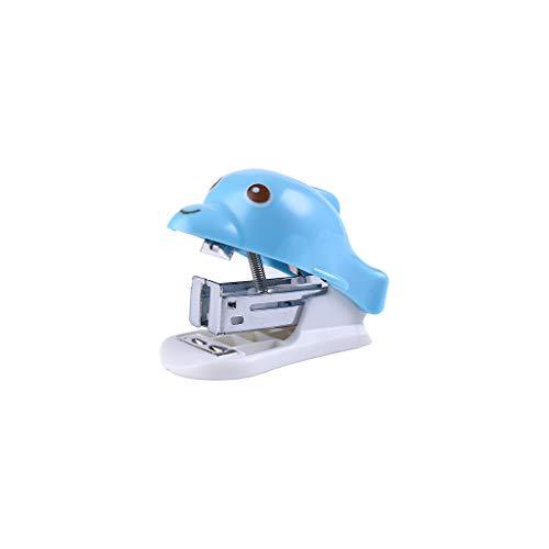 AckfulCreative Mini Stapler Cartoon Dolphin Shape Stapler Office Learning Stationery (Blue)