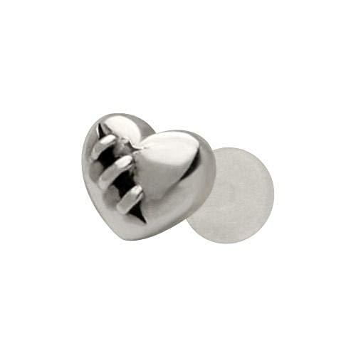 Bioplast Sterling Silver Ring - FreshTrends Wounded Heart 925 Sterling Silver Bioplastic Tragus Cartilage Earring or Lip Ring
