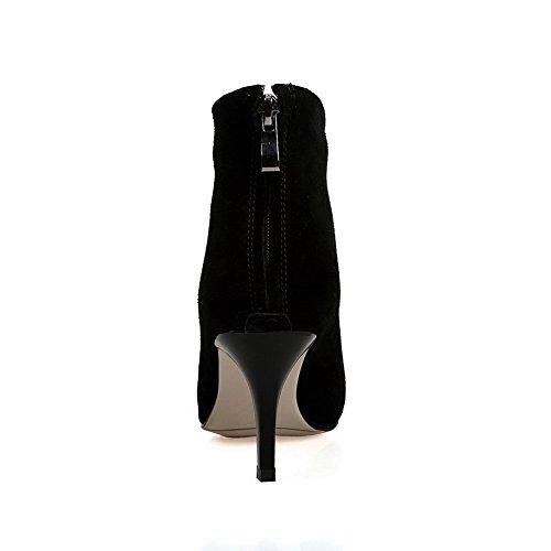 Balamasa Femmes Confort Solide Sans Fermeture Microfibre Bottes Noir