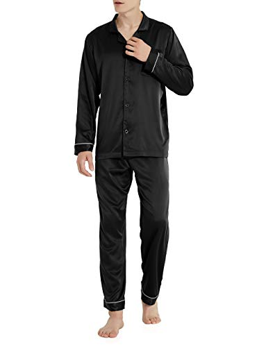 (David Archy Men's Satin Silky Sleepwear Pajamas Set Button-Down Long Loungewear (S, Black))