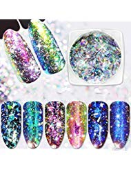 (Minejin Nail Art Chameleon Sequins Laser Glitter Holographic Flakes Paillette Galaxy Mirror Powder 3 Boxes)